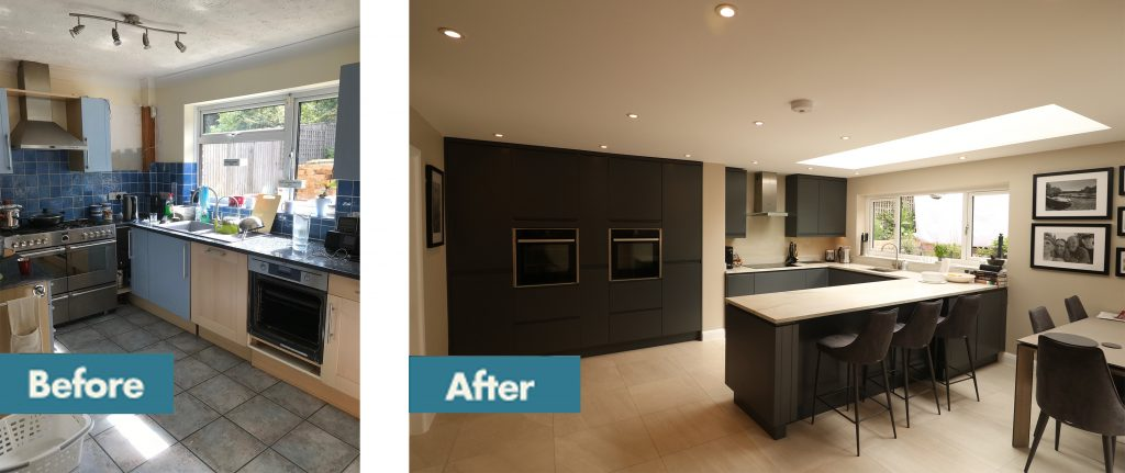 West Sussex Kitchen Diner before and after