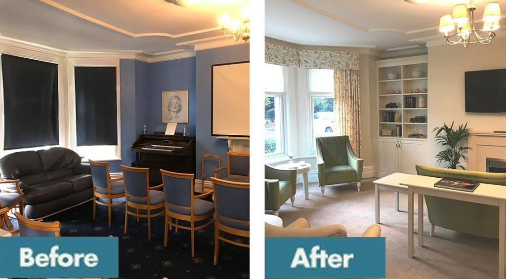 Before and after care home lounge area