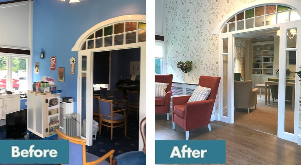 Before and after care home reception