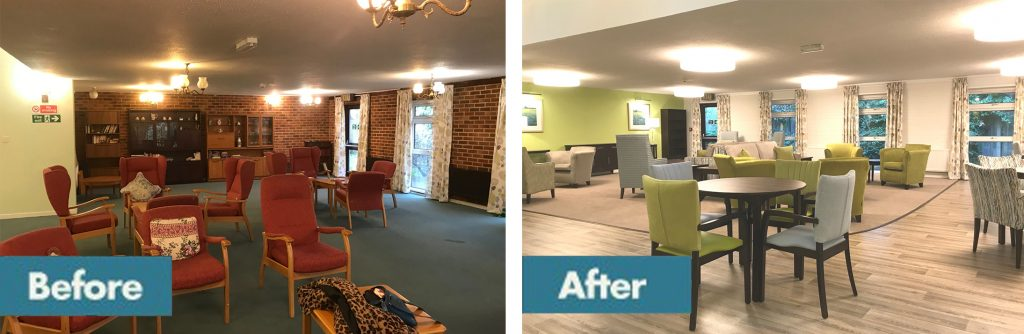 sheltered housing communal area before and after