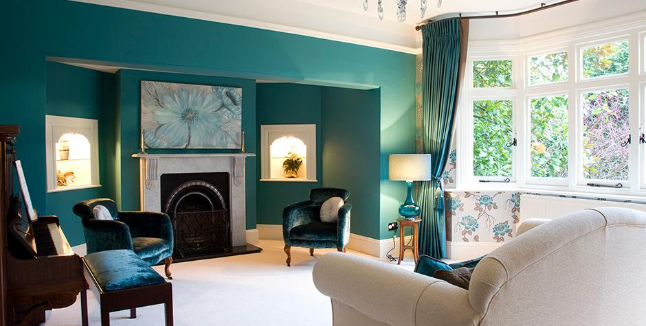 HomeSmiths Interior Design & Homesmiths | Luxury Teal Sitting Room - Interior Design Services ...