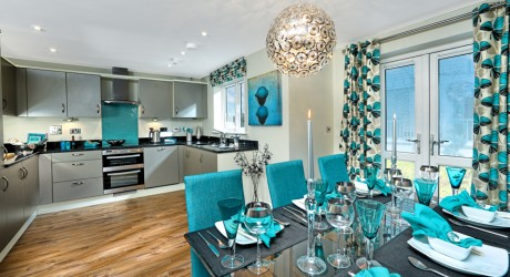 Grey and teal kitchen and dining table
