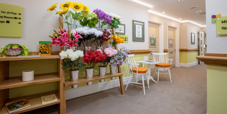 Corridor with Dementia Florist Stand Seating